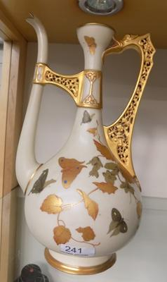 Royal Worcester butterfly pattern jug with pierced handle.