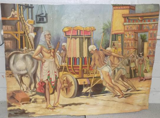 Painting of Egyptian scene on canvas