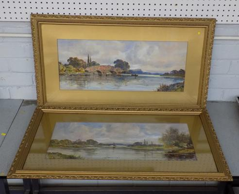 "Pair of Dudley Ward watercolour landscapes. Frame size 35"" x 20"""