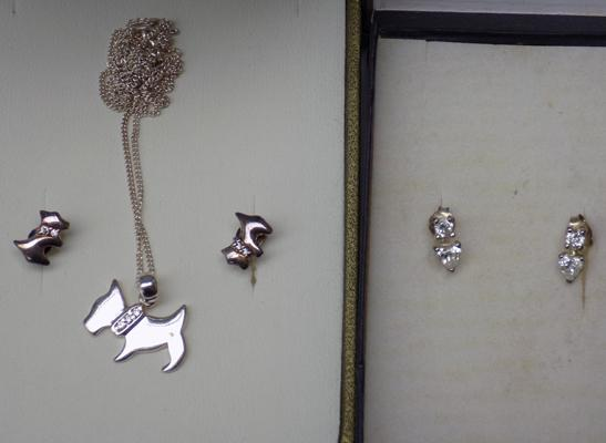 Silver Scottie dog necklace and earrings plus 2 pairs of  silver earrings