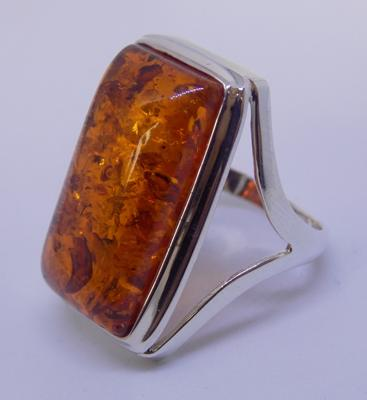 Art deco style silver & amber ring