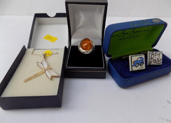 Silver & amber ring + cufflinks, butterfly pendant & chain