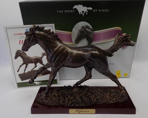 Boxed 'Sport of Kings' bronzed race horse - 'Hyperion' on wooden base with certificate