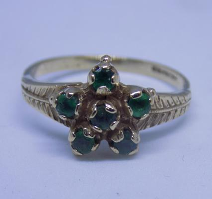 9ct gold emerald cluster ring, size L 3/4
