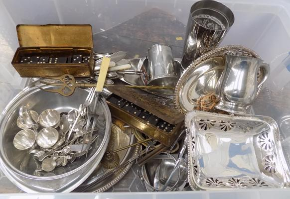 Box of vintage plated ware, brass and pewter