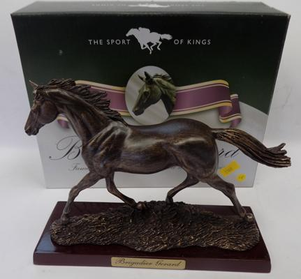 Boxed 'Sport of Kings' bronzed race horse 'Brigadier Gerard' on wooden base