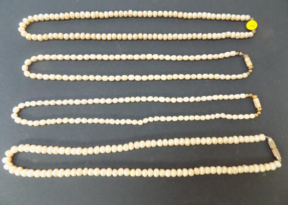4 fresh water pearl necklaces