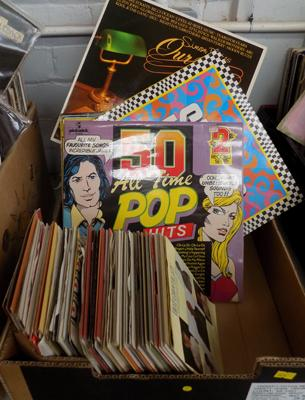 Box of LPs and singles mainly Compilations