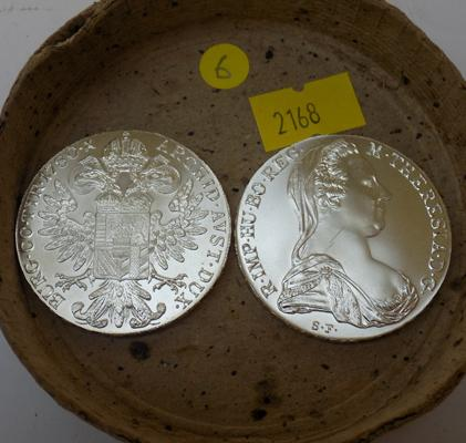 Two silver one ounce Thaler coins 1780