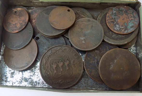 Tin of old coins, incl. Georgian - Victorian