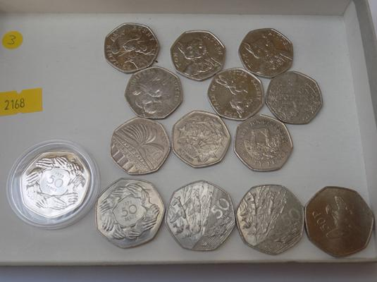 Collection of 50p coins, incl Beatrix Potter & silver proof 1973 - UK joins the EU