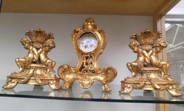 Mantle trio - incl. clock & two candle sticks, some damage to clock