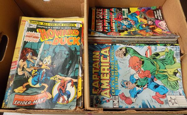 Box of Captain America, Howard The Duck vintage comics