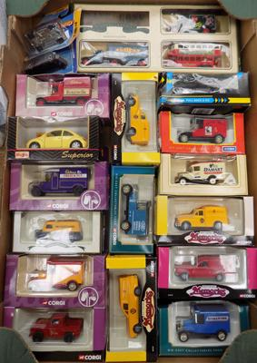 Box of boxed Diecast cars and vans