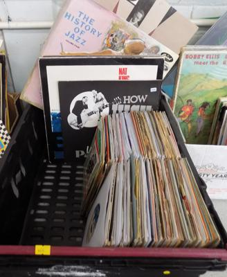 Box of LPs and singles including Jazz, Blues & 1960s