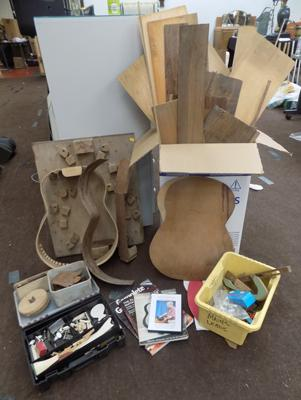 Job lot of classical/acoustic guitar making accessories + parts