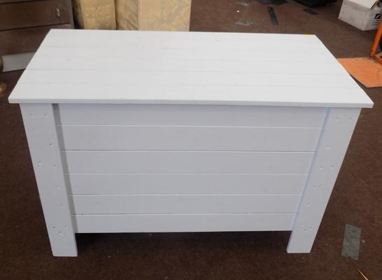 Toy box - wooden, pale grey