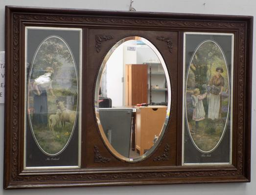 Over mantle mirror with picture detailing