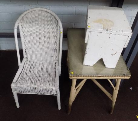 Child's wicker chair and table with glass top