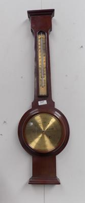 Barometer + thermometer in mahogany case