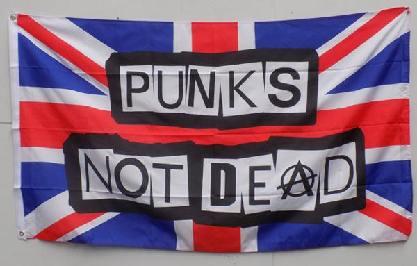 5 foot by 3 foot 'Punks not dead' flag