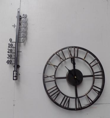 Metal wall clock and metal thermometer