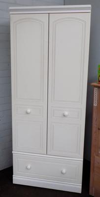 Double fronted wardrobe with bottom drawer