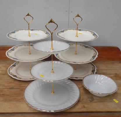 3 cake stands - pottery