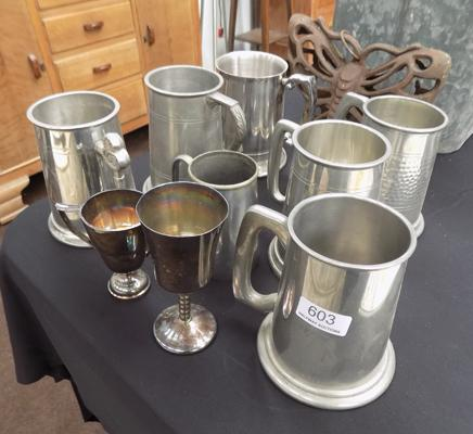 Selection of pewter - tankards & other items