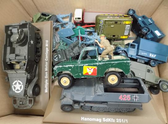 Collection of military Diecast and soldiers incl. Britains 1971 Rover