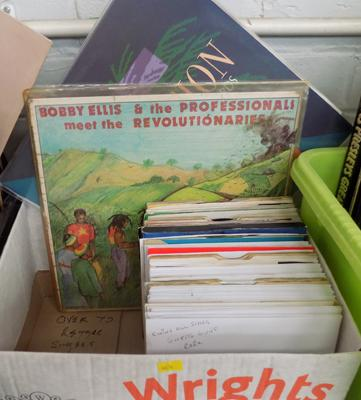 Collection of Reggae records, over 70 singles, some rare