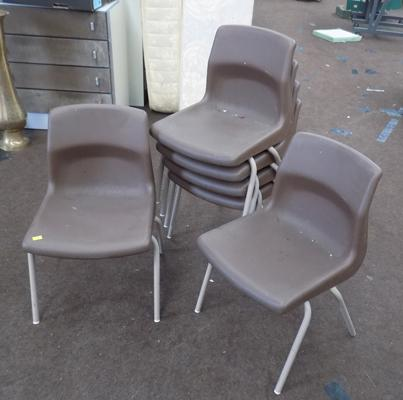 6 school brown chairs