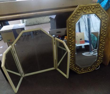 Two mirrors - 1 brass, 1 trio