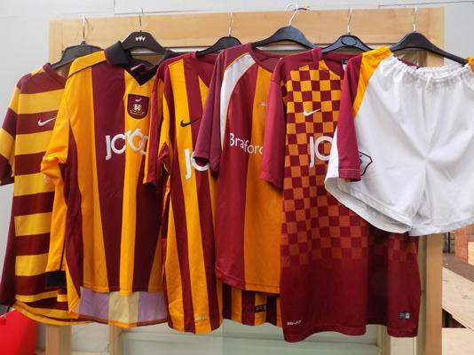 Five old Bradford City football shirts & one pair of shorts