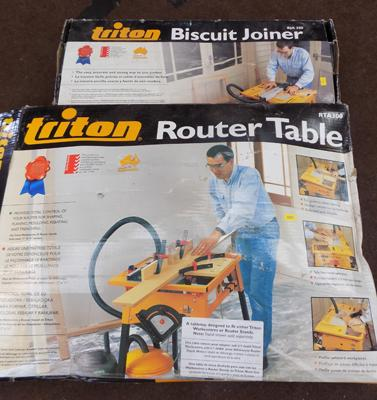 Triton router table + biscuit joiner - both boxed