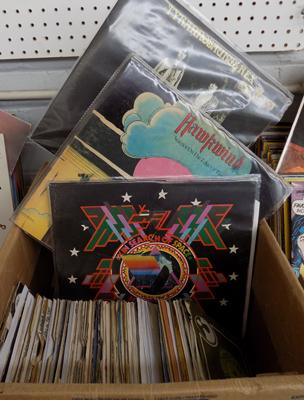 Box of Rock LPs and singles incl; Canned Heat, Neil Young, T-Rex, The Who etc.