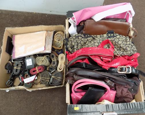 Selection of handbags, ladies & gents belts & two pairs of stockings