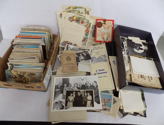 Three boxes of postcards, photos & greetings telegrams