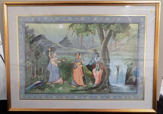 "Painting of Indian scene and 3 figures - 37"" x 26 1/2"""