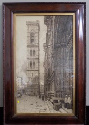 "Old antique tower and building - Gospel religious - 20"" x 29 1/2"""