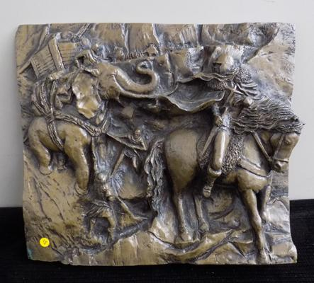 Knight and elephant carved figures on heavy slate/ stone