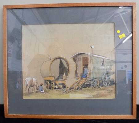 Original watercolour painting signed J H Bagnall  1959 - Gypsy caravan & horse - 19 x 16 1/2 inches
