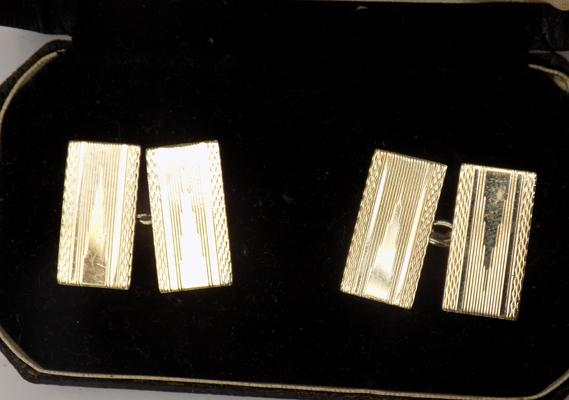 Vintage silver cufflinks in Art Deco style with engine turn pattern & in original box