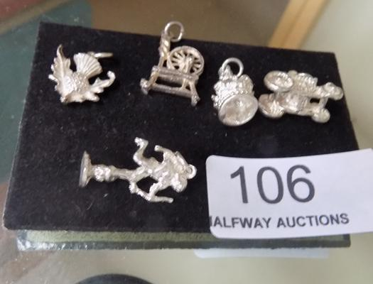 5 solid silver charms, incl. Scottish thistle