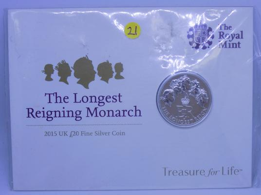 2015 UK £20 silver coin Royal mint - 'Longest reigning Monarch', 999 fine silver
