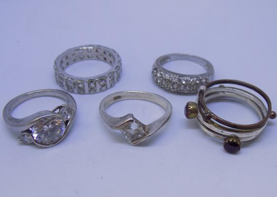 5 sterling silver rings