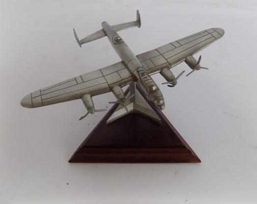 Royal Hampshire/The Lancaster model plane on stand