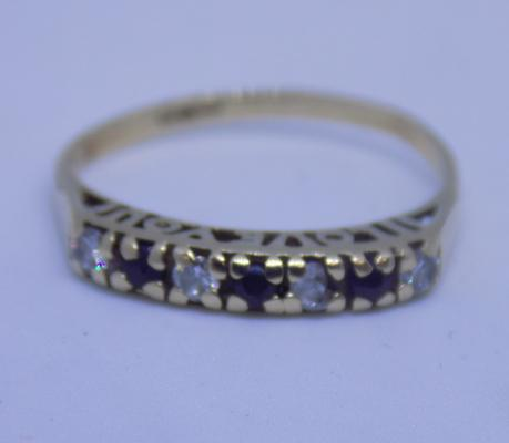 9ct gold 'I love you' ring, sapphire, size L