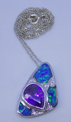Silver opal and amethyst pendant and silver chain