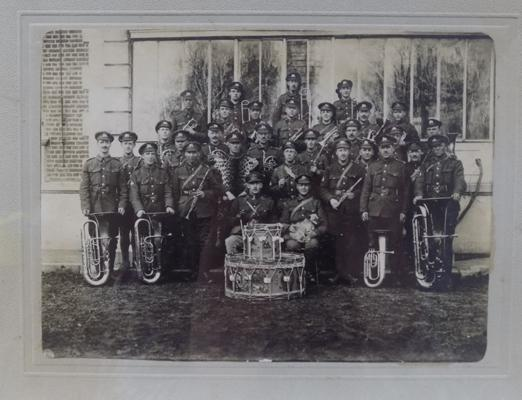 Very early photo of 'Bradford Pals' military band-pre WWI